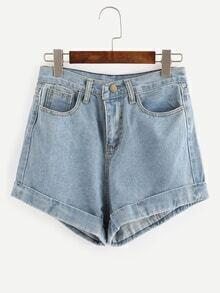Rolled Hem Light Blue Denim Shorts