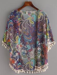 Tassel Trimmed Paisley Print Navy Kimono