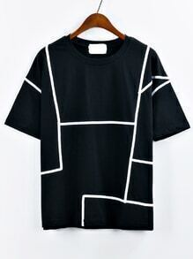 Contrast Binding T-shirt - Black