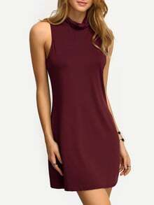 Burgundy High Neck Tank Dress