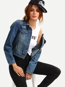 Dual Flap Pocket Stone Wash Blue Denim Jacket