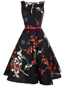 Black Floral Print Flare Dress With Belt