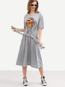 Faux Sleeve-Tie Logo Print Tee Dress - Grey