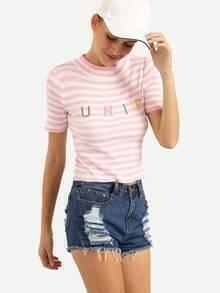 Top letras bordadas tejido rayas -rosa