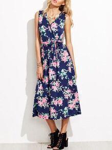 Navy Floral Print Wrap Maxi Dress