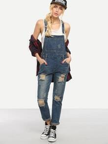 Ripped Blue Denim Overalls
