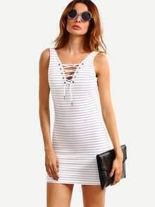White Lace-Up V Neck Striped Sheath Dress