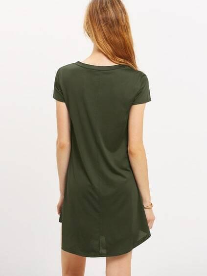 Olive Green V Neck Swing Tee Dress
