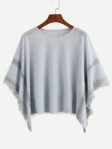 Grey Frayed Lace Insert Poncho Blouse