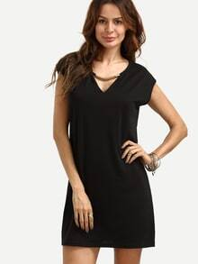 Black V Neck Shift Dress