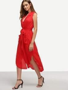 Vestido solapa cordón asimétrico gasa con bolsillos -rojo