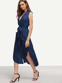 Navy Lapel Self-tie High Low Chiffon Dress With Pockets