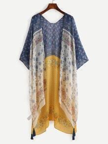 Multicolor Paisley Print Tassel Trimmed Kimono
