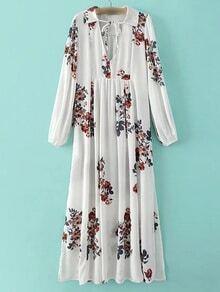 White V Neck Floral Lapel Chiffon Dress