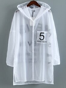White Long Sleeve Pocket Buttons Front Outer With Hooded