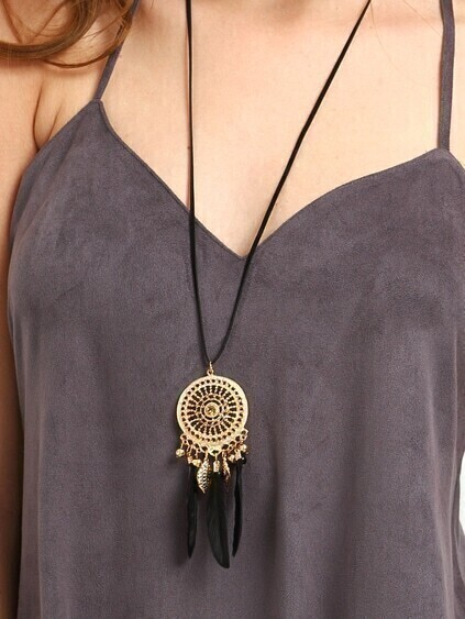 Black Hollow Pendant Necklace