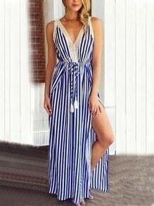 Blue White Vertical Stripe Crochet Trim Sleeveless Slit Dress