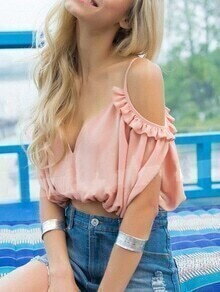 Ruffle Pink Cold Shoulder Lace Up Crop Top