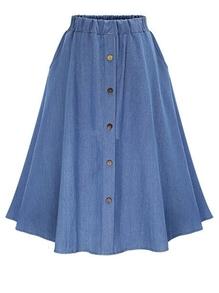 Elastic Waist Denim Flare Skirt With Buttons