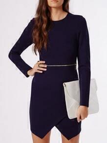 Navy Long Sleeve Wrap Dress With Zipper