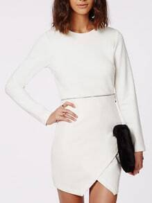 White Long Sleeve Wrap Dress With Zipper