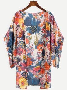 Multicolor Flower Print Kimono