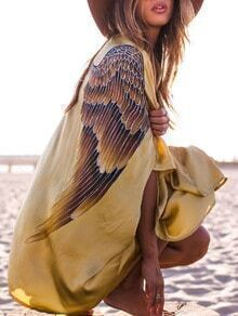 Yellow Wing Print Beach Kimono