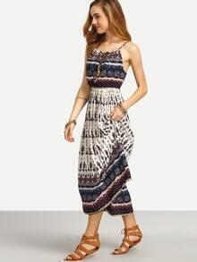 Spaghetti Strap Aztec Print Beach Dress