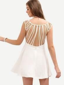 White Caged Back Skater Dress