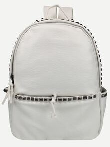 White Faux Leather Studded Backpack