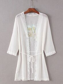 White Tie Waist Embroidered Sequin Coat