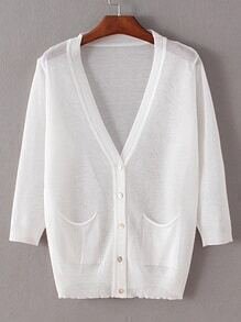 White Collarless Buttons Front Pockets Coat