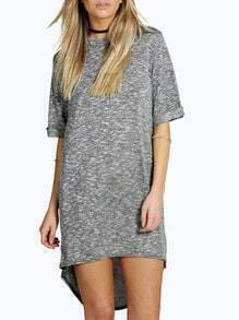 Grey Short Sleeve Round Neck High-low Hem Tshirt Dress