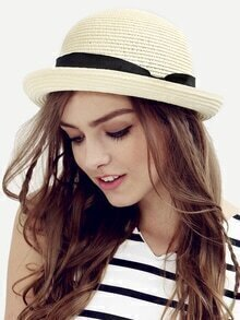 Cream Bow Decorated Dome Straw Hat