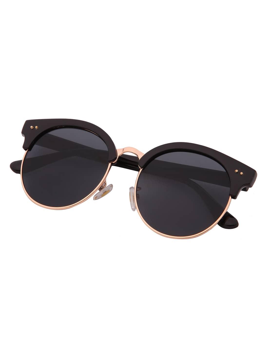 lunettes de soleil r fl chissant monture ronde french romwe. Black Bedroom Furniture Sets. Home Design Ideas