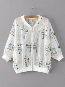 White Lollipop Embroidery Rib-knit Cuff Coat
