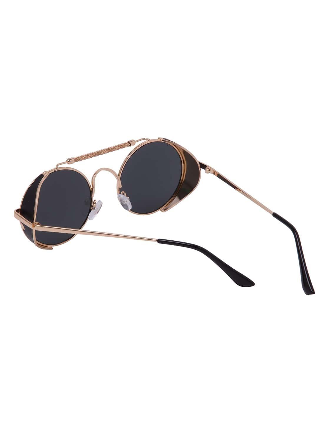 lunettes de soleil lentille ronde dor french romwe. Black Bedroom Furniture Sets. Home Design Ideas