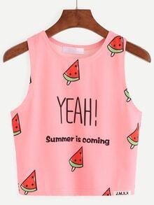 Pink Watermelon Popsicle Print Tank Top