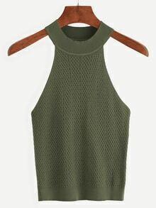 Top de punto cuello halter -verde oliva