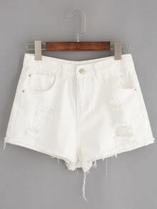 White Ripped Raw Hem Denim Shorts