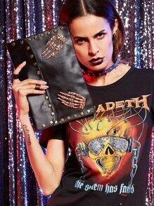 Black Metal Skeleton Hand Accent Studded Clutch Bag