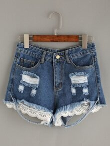 Blue Ripped Lace Trimmed  Denim Shorts