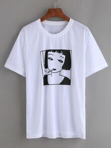 White Smoking Girl Print T-shirt