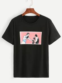 Black Boxing Print T-shirt