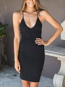Black Lace-Up Back Cami Sheath Dress