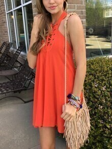 Orange Lace-Up Halter Neck Dress