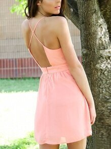 Pink Crisscross Cami Dress