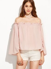 Pink Ruffled Off The Shoulder Bell Sleeve Blouse