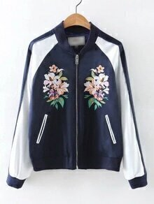 Navy Rib-knit Cuff Embroidery Pockets Zipper Coat
