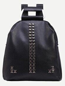 Black Studded Metal Handle Backpack